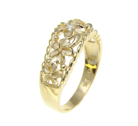 YELLLOW GOLD 925 SILVER 5 HAWAIIAN PLUMERIA FLOWER CZ RING CURVE STYLE