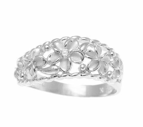 STERLING SILVER 925 HAWAIIAN 5 PLUMERIA FLOWER RING CURVE STYLE RHODIUM SZ 3-10