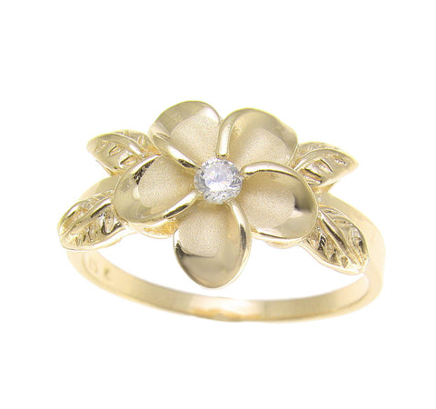 YELLOW GOLD PLATED SILVER 925 HAWAIIAN PLUMERIA FLOWER MAILE LEAF LEAVES RING CZ