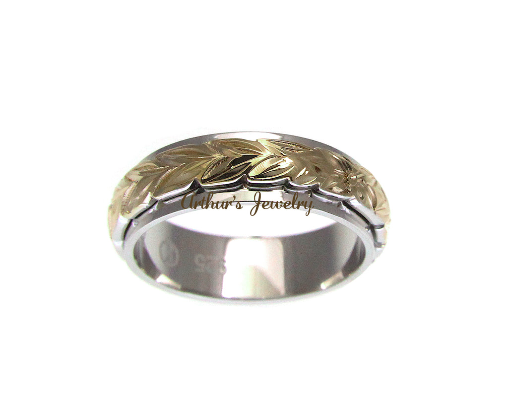 SILVER 925 HAWAIIAN MAILE LEAF 4MM//6MM DOUBLE BAND RING YELLOW GOLD PLATED 2TONE