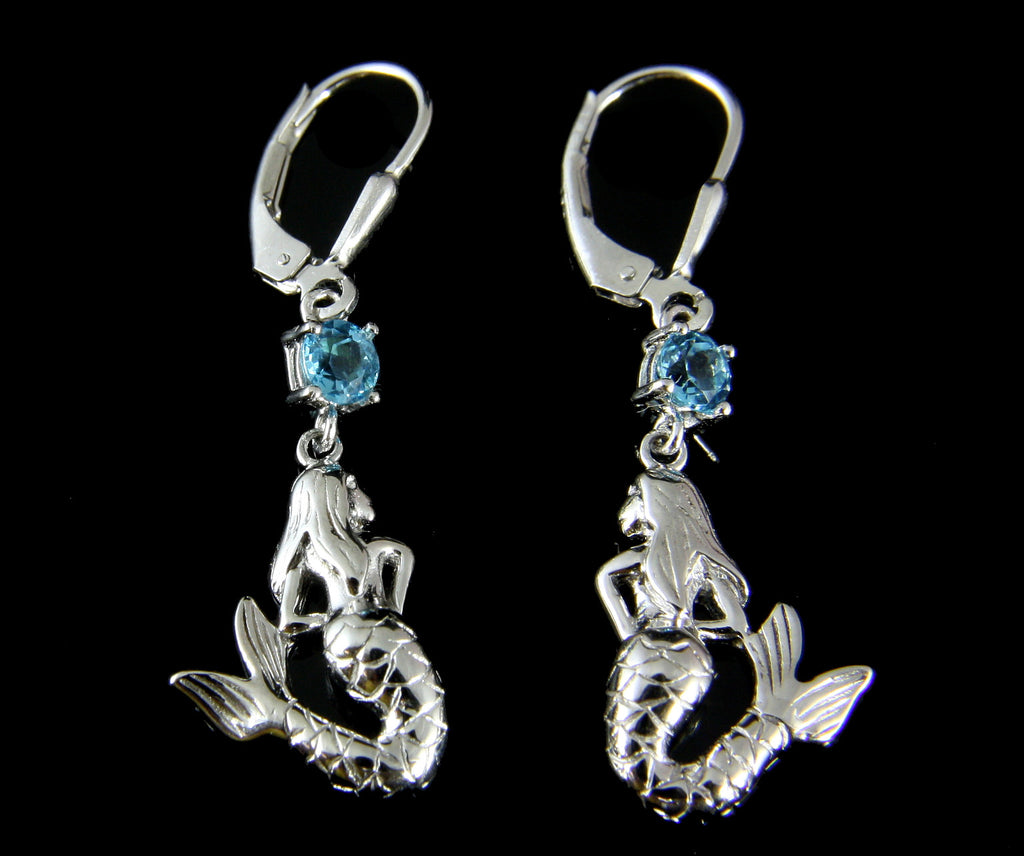 GENUINE BLUE TOPAZ SOLID 925 SILVER HAWAIIAN MERMAID LEVERBACK EARRINGS
