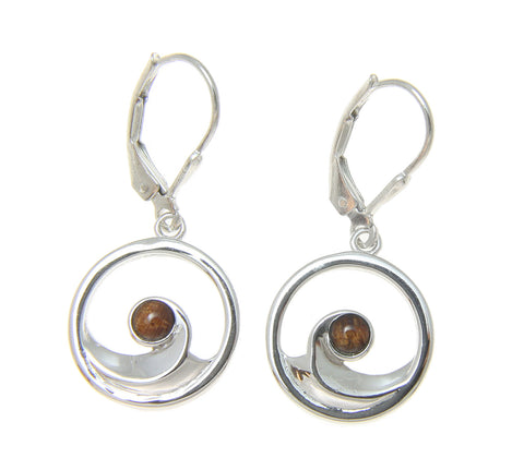 STERLING SILVER 925 HAWAIIAN KOA WOOD OCEAN WAVE LEVERBACK EARRINGS RHODIUM 15MM