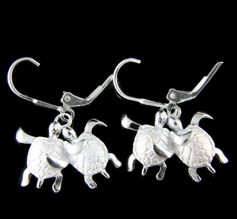 925 SILVER COUPLE HAWAIIAN HONU SEA TURTLE DANGLING LEVERBACK EARRINGS