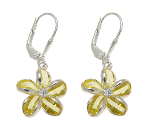925 SILVER FACET YELLOW NATURAL CRYSTAL PLUMERIA FLOWER LEVERBACK EARRINGS