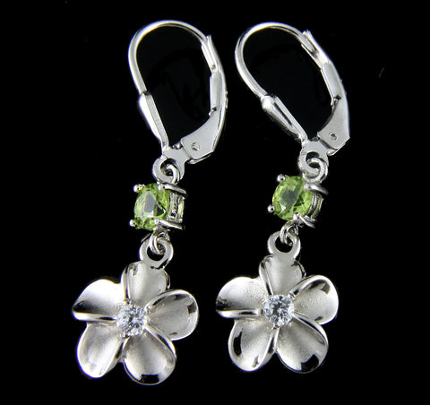 GENUINE PERIDOT SILVER 925 HAWAIIAN PLUMERIA FLOWER LEVERBACK EARRINGS RHODIUM