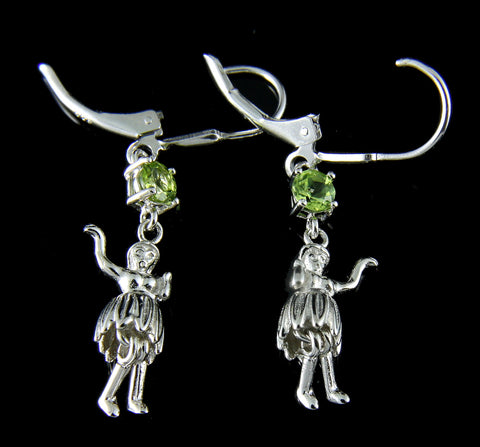 GENUINE PERIDOT SILVER 925 HAWAIIAN HULA GIRL LEVERBACK EARRINGS RHODIUM
