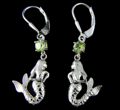 GENUINE PERIDOT SOLID 925 SILVER HAWAIIAN MERMAID LEVERBACK EARRINGS RHODIUM