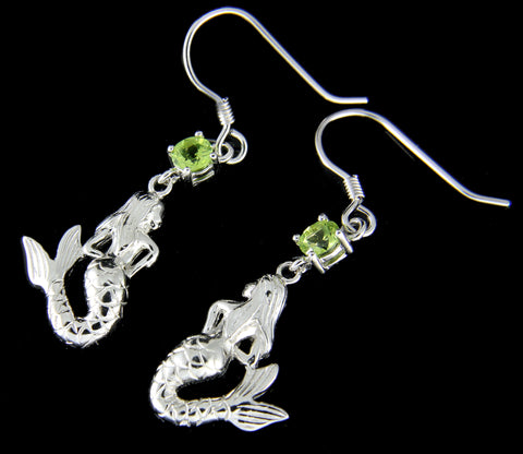 GENUINE PERIDOT SOLID 925 SILVER HAWAIIAN MERMAID WIRE HOOK EARRINGS RHODIUM