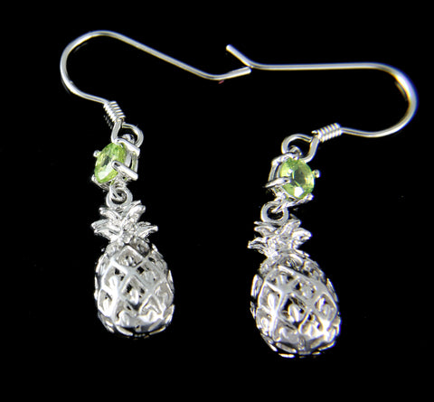 GENUINE PERIDOT SILVER 925 HAWAIIAN 3D PINEAPPLE WIRE HOOK EARRINGS RHODIUM