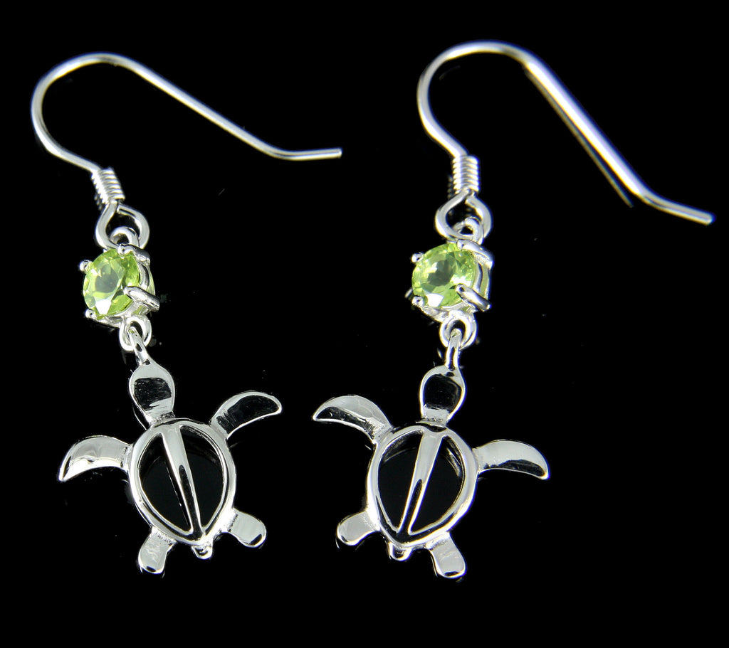 GENUINE PERIDOT SILVER 925 HAWAIIAN HONU TURTLE WIRE HOOK EARRINGS RHODIUM 13MM