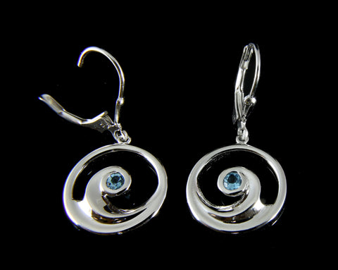 GENUINE BLUE TOPAZ SILVER 925 HAWAIIAN OCEAN WAVE LEVERBACK EARRINGS