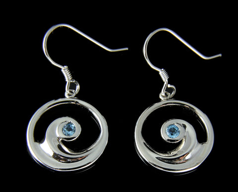 GENUINE BLUE TOPAZ SILVER 925 HAWAIIAN OCEAN WAVE HOOK EARRINGS 16.35MM
