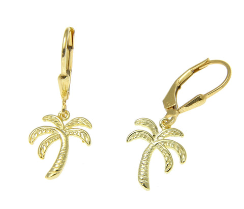 YELLOW GOLD ON SILVER 925 HAWAIIAN PALM TREE WIRE LEVERBACK EARRINGS