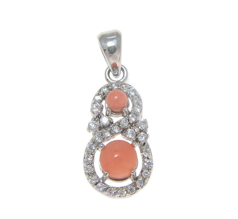 925 Sterling Silver Rhodium CZ Genuine Natural Pink Coral Pendant