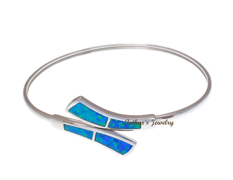 925 Sterling Silver Inlay Blue Opal Flex Adjustable Bangle