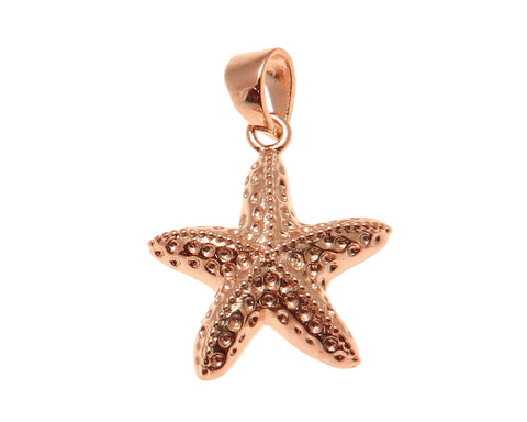 ROSE GOLD PLATED SILVER 925 HAWAIIAN SEA STARFISH CHARM PENDANT 15MM-26MM