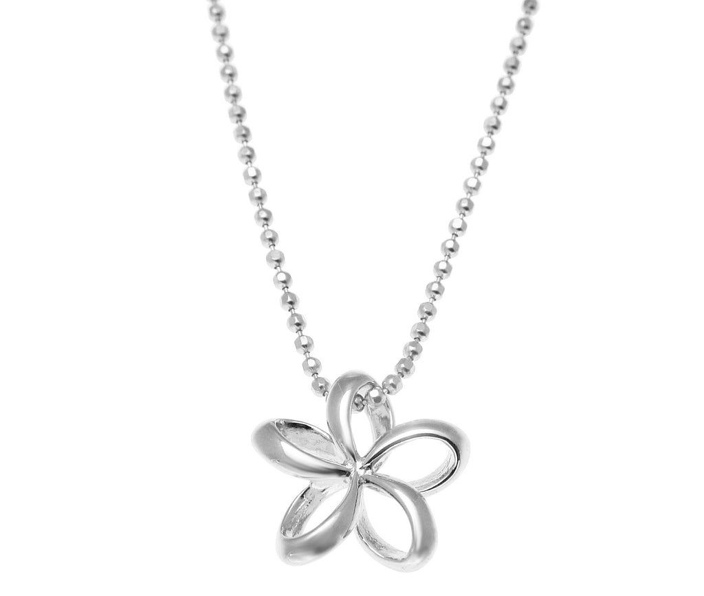 13MM STERLING SILVER 925 HAWAIIAN OPEN FLOATING OUTLINE PLUMERIA FLOWER PENDANT