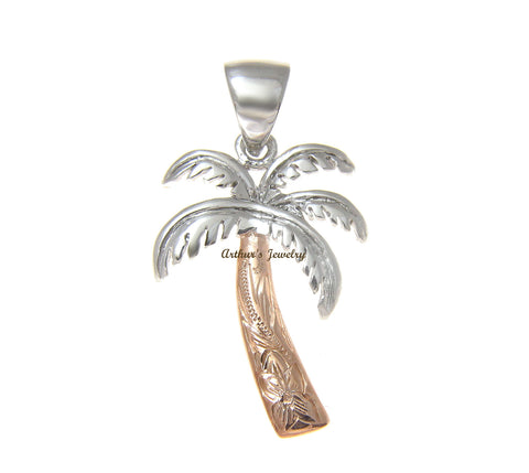 2 TONE 16MM ROSE PINK SILVER 925 HAWAIIAN PALM TREE SCROLL PENDANT RHODIUM