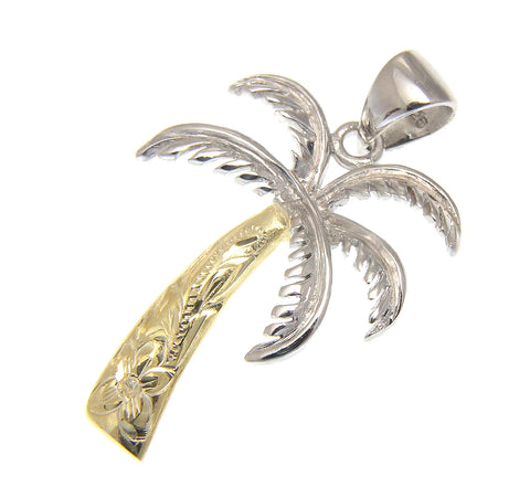 2 TONE 21MM YELLOW GOLD SILVER 925 HAWAIIAN PALM TREE SCROLL PENDANT RHODIUM
