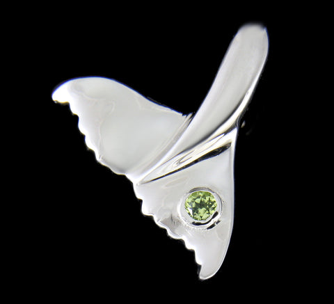 GENUINE PERIDOT SILVER 925 HAWAIIAN WHALE TAIL PENDANT MEDIUM LARGE RHODIUM