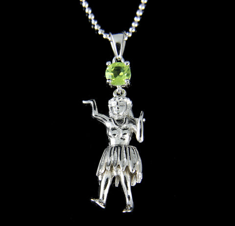 GENUINE PERIDOT 925 STERLING SILVER HAWAIIAN HULA GIRL PENDANT RHODIUM 12MM