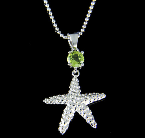 GENUINE PERIDOT 925 STERLING SILVER HAWAIIAN SEASTAR STARFISH PENDANT RHODIUM