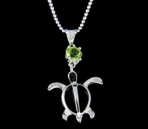 GENUINE PERIDOT 925 STERLING SILVER HAWAIIAN HONU TURTLE PENDANT RHODIUM 17MM