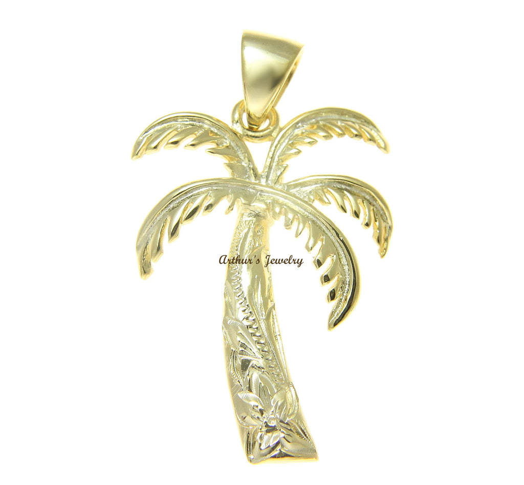 21MM YELLOW GOLD ON STERLING SILVER 925 HAWAIIAN PALM TREE SCROLL PENDANT