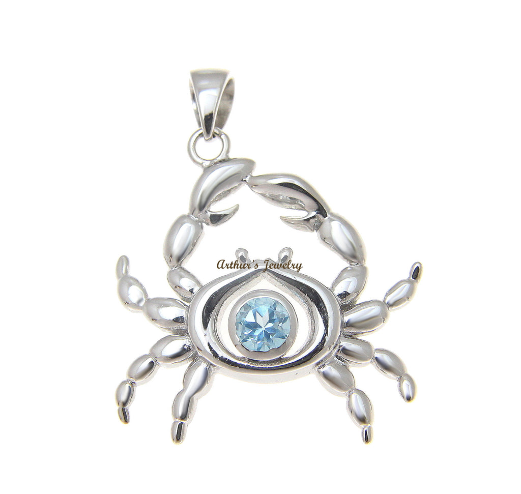 GENUINE BLUE TOPAZ HAWAIIAN CRAB SOLID 925 STERLING SILVER PENDANT