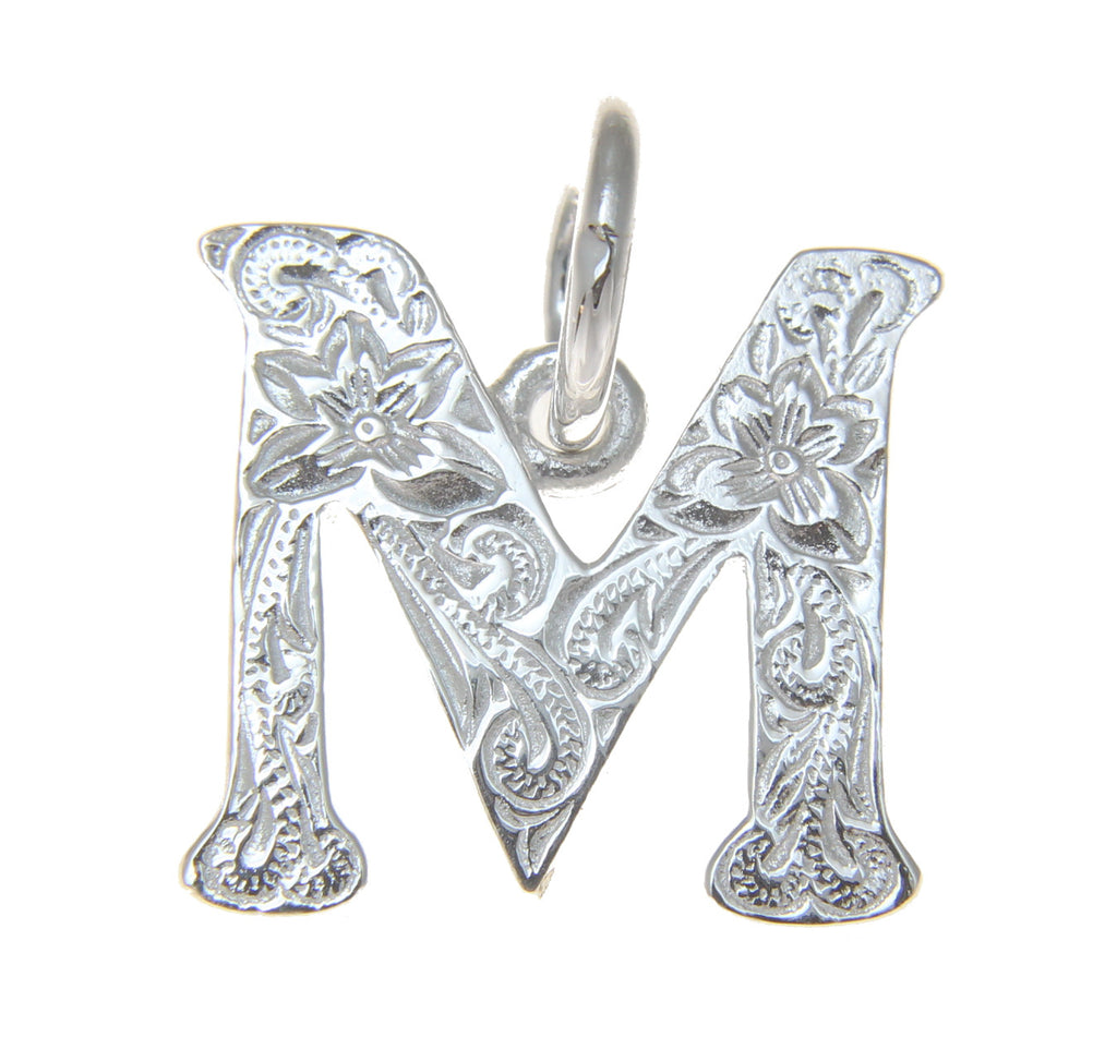 925 STERLING SILVER HEAVY HAWAIIAN PLUMERIA SCROLL INITIAL LETTER M PENDANT