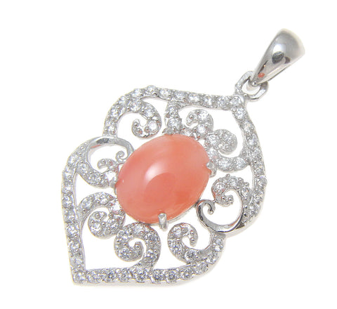 925 Sterling Silver Rhodium CZ Genuine Natural Oval 7x9mm Pink Coral Pendant