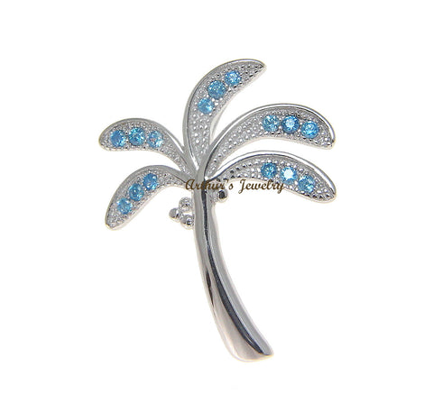 925 Sterling Silver Genuine Blue Topaz Hawaiian Palm Tree Slider Pendant