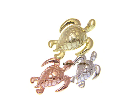 YELLOW ROSE GOLD PLATED SILVER 925 HAWAIIAN 3 SEA TURTLE FAMILY SLIDE PENDANT
