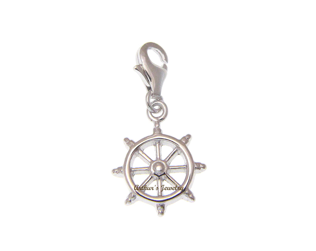 925 Sterling Silver Ship Helm Captain Wheel Pendant Charm Enhancer