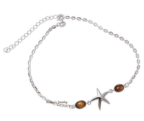 "925 Sterling Silver Rhodium Starfish Hawaiian Genuine Koa Wood Anklet 9""+"