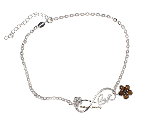 "925 Silver Rhodium Infinity Love Hawaiian Plumeria Flower Koa Wood Anklet 9""+"