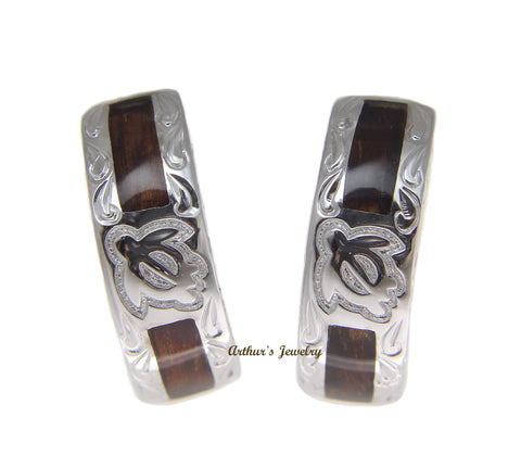 SILVER 925 GENUINE HAWAIIAN KOA WOOD HONU TURTLE SCROLL HOOP EARRINGS RHODIUM