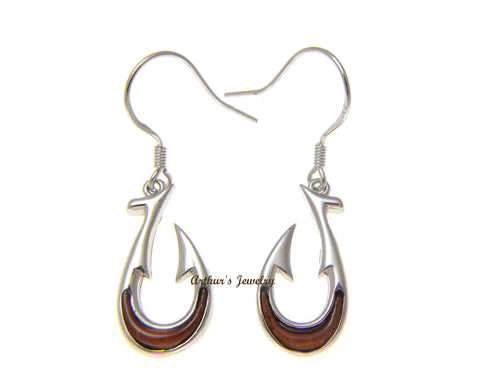 GENUINE INLAY HAWAIIAN KOA WOOD FISH HOOK HOOK EARRINGS SILVER 925 SMALL 10.25MM