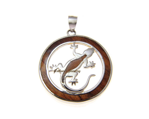 GENUINE INLAY HAWAIIAN KOA WOOD GECKO CIRCLE PENDANT STERLING SILVER 925 26.50MM