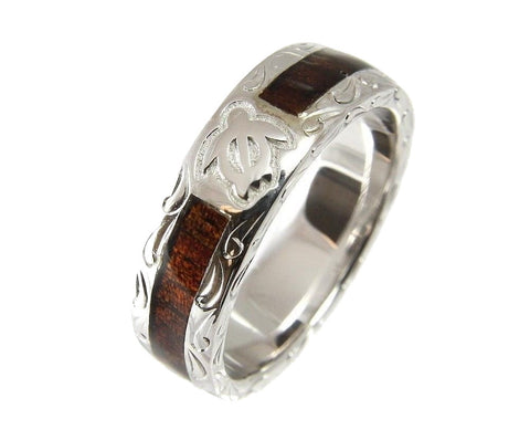GENUINE HAWAIIAN KOA WOOD ETERNITY WEDDING BAND RING HONU TURTLE 925 SILVER 6MM