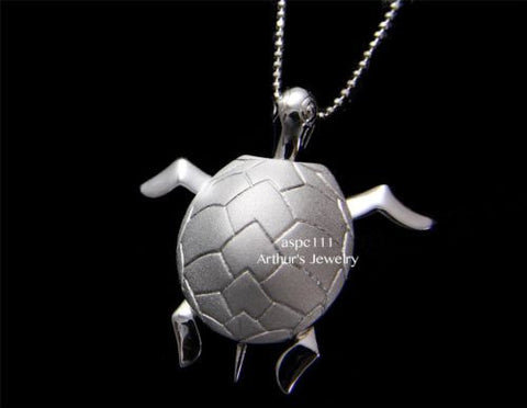 STERLING SILVER 925 HAWAIIAN 3D MOVABLE SEA TURTLE PENDANT LARGE 30MM