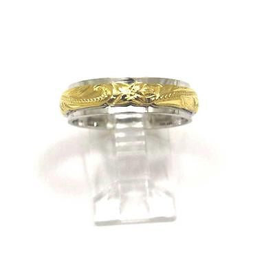 2 TONE YELLOW SILVER 925 HAWAIIAN PRINCESS SCROLL 4/6MM DOUBLE BAND RING SZ 3-12