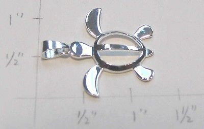 STERLING SILVER 925 MEDIUM HAWAIIAN PETRO HONU SEA TURTLE PENDANT CHARM