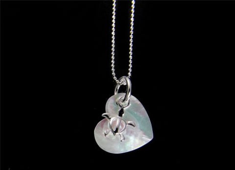 MOTHER OF PEARL SHELL HEART SILVER 925 HAWAIIAN MOVABLE HONU TURTLE PENDANT