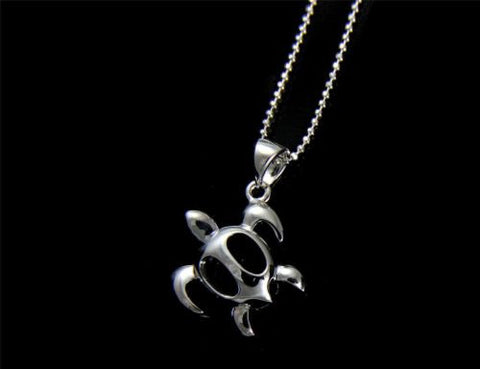 STERLING SILVER 925 SHINY HAWAIIAN HONU TURTLE PENDANT 15.5MM