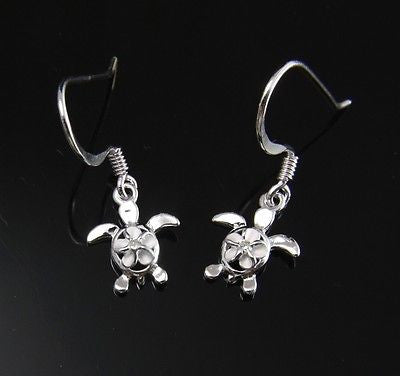 10MM SILVER 925 HAWAIIAN PLUMERIA IN HONU TURTLE DANGLING EARRINGS WIRE HOOK