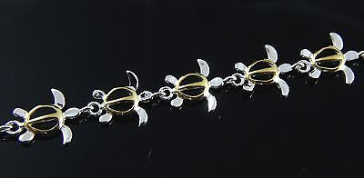 YELLOW GOLD PLATED 2 TONE STERLING SILVER 925 HAWAIIAN HONU TURTLE LINK BRACELET