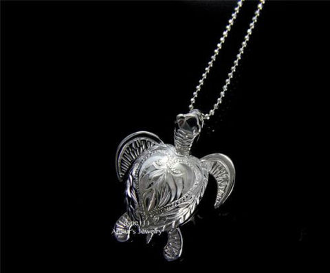 STERLING SILVER 925 HAWAIIAN SCROLL MOVING SEA TURTLE PENDANT