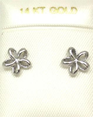 7.5MM 14K SOLID WHITE GOLD HAWAIIAN POLISH SHINY OPEN PLUMERIA FLOWER EARRINGS