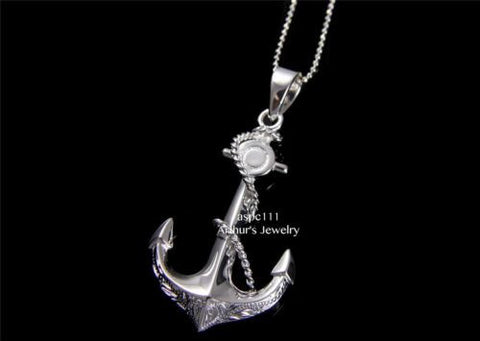 STERLING SILVER 925 3D HAWAIIAN SCROLL DESIGN ANCHOR ROPE PENDANT HEAVY